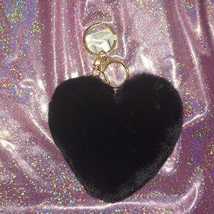 Accessories - 4/$25 Black Fuzzy Heart Keychain